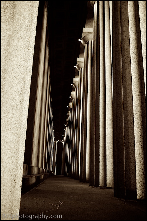 Night shot of the columns.
