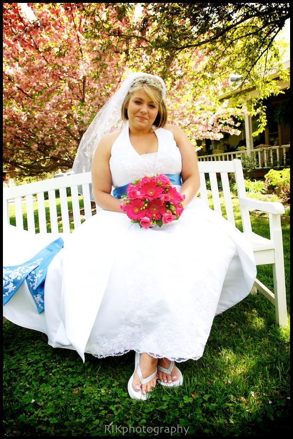 bride on white bench