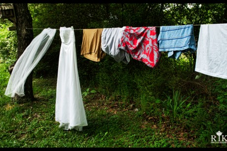 Bride's dress on a clothesline