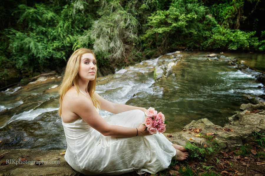 bride on the side of a river